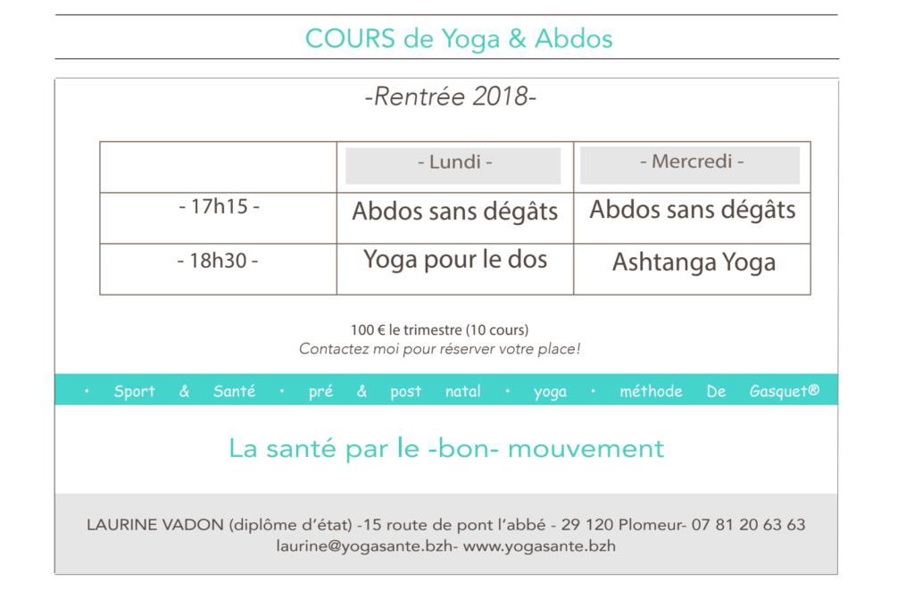 planning rentrée 2018 - Yoga & Santé